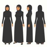 illustration musulmane de femme, caractère arabe de fille de vecteur, vue femelle, avant, latérale et arrière de bande dessinée s illustration stock