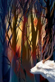 Illustration mystical forest with a goat Royalty Free Stock Photo