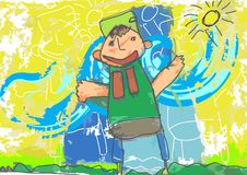 Illustration Naif, der die Kinder zeichnet Stockbild