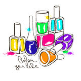 Illustration with nail polish bottles Royalty Free Stock Photo