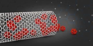 Illustration of nanotube molecule on black backround Royalty Free Stock Images