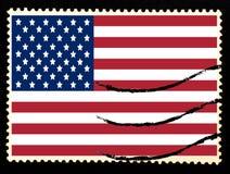 Illustration of national flag of United States of America on vintage postage stamp on black background. Old paper texture.  royalty free illustration