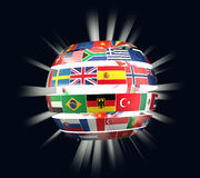 Illustration of National flags twisted as spiral globe with rays Stock Images