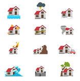 Illustration of natural disaster icon. Set Stock Photography