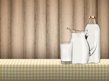 Illustration of natural organic milk in transparent glass, bottle and jug standing on a table covered by yellow checkered napkin Stock Images