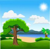 Nature illustration with green forest, calm lake and mountains royalty free illustration