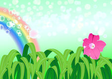 Illustration of nature landscape with rainbow Royalty Free Stock Photo