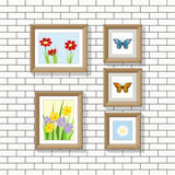 Illustration of nature pictures on a wall. Vector stock illustration