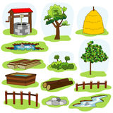 illustration of nature and village elements Stock Photos