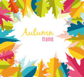 Illustration naturelle de Sunny Autumn Leaves Frame Background Vector Photos stock