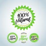 Illustration naturelle de timbre de lettrage de vecteur de 100% Logo de nature, feuilles tropicales vertes icône, ligne stylisée, illustration de vecteur