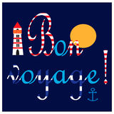 Illustration with nautical elements and text in french Bon voyage means Have a good trip. Royalty Free Stock Photos