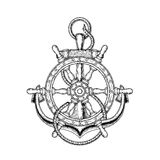illustration of nautical steering wheel and anchor Stock Photo