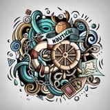 Illustration nautique de griffonnage de vecteur de bande dessinée Photographie stock libre de droits