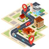 illustration of the navigation map with gps icons stock illustration