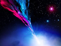 Illustration of nebula in space. Enlarged view in the Universe royalty free illustration