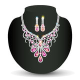 Illustration of a necklace with her wedding with pink precious stones Stock Image