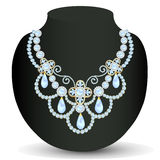 Necklace women blue for marriage with pearls and precious stone Royalty Free Stock Photography