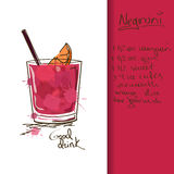 Illustration with Negroni cocktail Stock Image