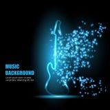 Illustration of neon light guitar. Royalty Free Stock Image