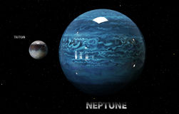 Illustration of Neptune's moons and star. Elements of this im. 3d illustration of Neptune's moons and star. Elements of this image furnished by NASA Stock Photo