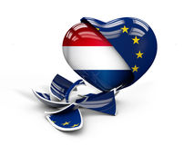 Illustration of Netherlands NLexit, European Union broken Stock Photo