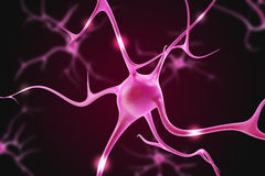 Illustration of neurons in the brain on a purple background. Royalty Free Stock Image