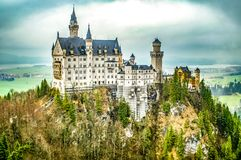 Illustration Neuschwanstein Castle. New Swanstone Castle. Fairytale palace royalty free stock photography