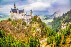 Illustration Neuschwanstein Castle. New Swanstone Castle. Fairytale palace. Illustration Castle. New Swanstone Castle. Fairytale palace. Palace on the top of the stock photo