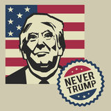 Illustration the never Donald Trump, flat design. Human, leader, wealthy, america, usa, expressive, red, day, business, president, , government, politics, star Royalty Free Stock Images