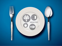 Illustration of new my plate replaces food pyramid. royalty free illustration