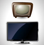 Illustration of a new and old television Royalty Free Stock Images