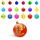 Illustration New Year Bckground with Set Colorful Christmas Ornamental Balls. Vector Royalty Free Stock Images