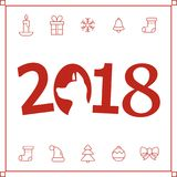 Illustration of 2018 new year card with dog. Royalty Free Stock Photo