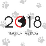 Illustration of 2018 new year card with dog. Royalty Free Stock Image