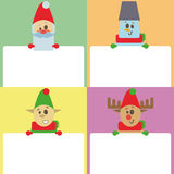 Illustration new year and christmas vector background, design template with empty space for your text. Set of four cards with different characters, flat style Stock Photo