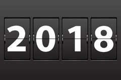Illustration New Year 2018 date. Set of numbers on a mechanical timetable royalty free illustration