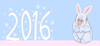 Illustration 2016 new year of the monkey. Vector illustration 2016 new year of the monkey vector illustration