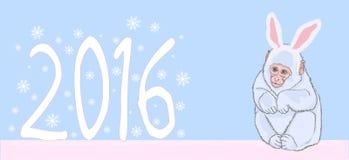 Illustration 2016 new year of the monkey Stock Photography
