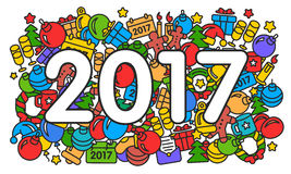 Illustration new year 2017 pattern trend Stock Photo