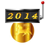 Illustration of New Years card. 2014 New Year s card slot Horse stock illustration