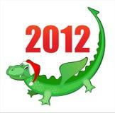 Illustration new year's merry dragon. Vector illustration of funny dragon, xmas card vector illustration