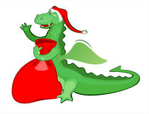 Illustration new year's merry dragon. Vector illustration of funny dragon with a bag of gifts vector illustration