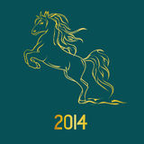 Illustration with New Year symbol of horse. Illustration with New Year 2014 symbol of horse Stock Photo