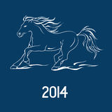 Illustration with New Year symbol of horse. Illustration with New Year 2014 symbol of horse Stock Images