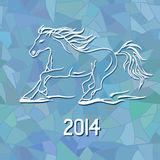 Illustration with New Year 2014 symbol of horse. On blue frost mosaic patterned background Vector Illustration