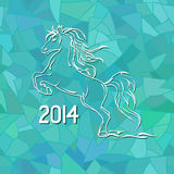 Illustration with New Year 2014 symbol of horse. On blue frost mosaic patterned background Stock Illustration