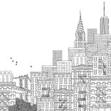 Illustration of New York. Hand drawn illustration of New York City with empty space for text Royalty Free Stock Photo