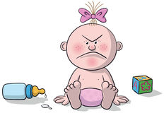 Illustration of newborn baby angry. A newborn baby illustration sitting very angry vector illustration
