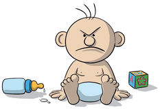 Illustration of newborn baby angry. A newborn baby illustration sitting very angry stock illustration